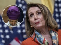 (INSET: Ilhan Omar) WASHINGTON, DC - APRIL 09: House Speaker Nancy Pelosi, (D-CA) speaks during a ceremonial bill enrollment for legislation which would end U.S. involvement in the war in Yemen on April 9, 2019 in Washington, DC. President Donald Trump has said that he would veto the legislation if …