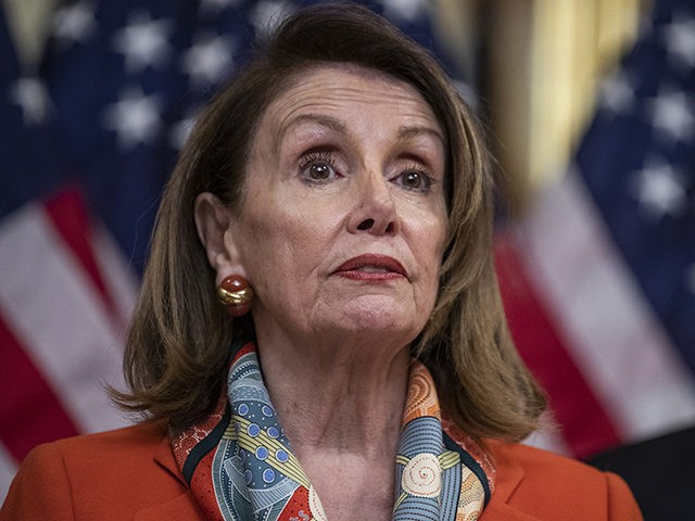WASHINGTON, DC - APRIL 09: House Speaker Nancy Pelosi, (D-CA) speaks during a ceremonial bill enrollment for legislation which would end U.S. involvement in the war in Yemen on April 9, 2019 in Washington, DC. President Donald Trump has said that he would veto the legislation if passed. (Photo by …