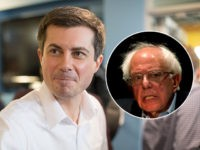 (INSET: Bernie Sanders) LONDONDERRY, NH - APRIL 19: Democratic Presidential candidate, South Bend Mayor Pete Buttigieg attends a campaign stop at Stonyfield Farms on April 19, 2019 in Londonderry, New Hampshire. Recent polls are showing Buttigieg is gaining ground with Democrats in the presidential nominating states of Iowa and New …
