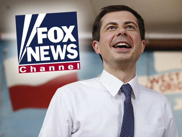 (INSET: Fox News logo) South Bend Mayor and Democratic presidential candidate Pete Buttigieg speaks at the West Side Democratic Club during a Dyngus Day celebration event on Monday, April 22, 2019 in South Bend, Indiana. - Buttigieg, the gay, liberal mayor of a small American city in the conservative bastion …