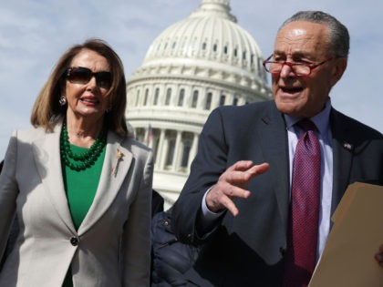 WASHINGTON, DC - APRIL 02: (L-R) U.S. Sen. Jeanne Shaheen (D-NH), Speaker of the House Rep. Nancy Pelosi (D-CA), and Senate Minority Leader Sen. Chuck Schumer (D-NY) walk toward the U.S. Supreme Court from the U.S. Capitol for a news conference April 2, 2019 in Washington, DC. Congressional Democrats held …