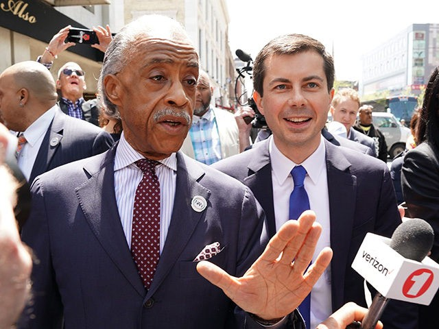 2020 Democratic presidential candidate and South Bend, IN, Mayor Pete Buttigieg (C) campaigns in New York April 29, 2019 meeting Rev. Al Sharpton (L) for lunch to discuss 'the need to confront homophobia in the faith community', and Mayor Buttigieg's policy agenda for the black community in Indiana and around …
