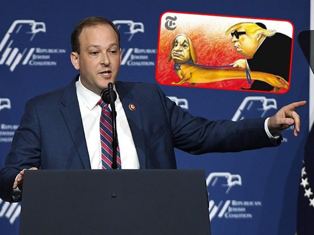 (INSET: Antisemitic cartoon that of Donald Trump and Benjamin Netanyahu that ran in the New York Times) LAS VEGAS, NEVADA - APRIL 06: U.S. Rep. Lee Zeldin (R-NY) speaks during the Republican Jewish Coalition's annual leadership meeting at The Venetian Las Vegas ahead of an appearance by U.S. President Donald …