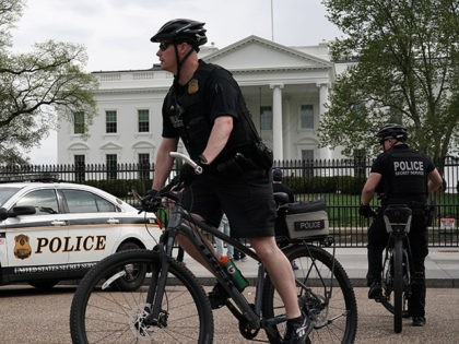 """WASHINGTON, DC - APRIL 08: Members of the U.S. Secret Service Uniformed Division patrol on bicycles outside the White House on April 08, 2019 in Washington, DC. Today it was announced that Randolph """"Tex"""" Alles will be leaving his position as U.S. Secret Service Director. Alles will be replaced by …"""