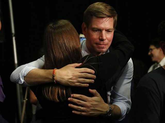 SUNRISE, FLORIDA - APRIL 09: Rep. Eric Swalwell (D-CA), who announced that he is running for president in 2020, greets people during a gun violence town hall at the BB&T Center on April 09, 2019 in Sunrise, Florida. Rep. Swalwell held the town hall not far from Marjory Stoneman Douglas …