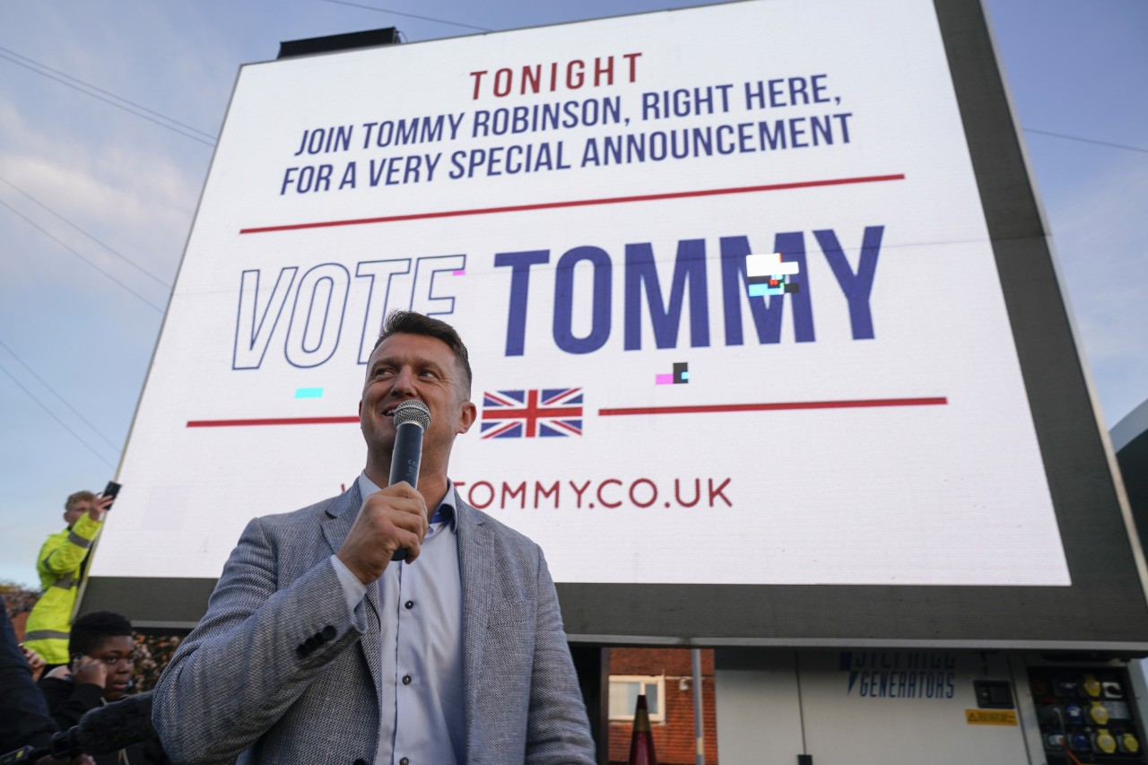 WYTHENSHAWE, ENGLAND - APRIL 25: British far-right activist and pundit, Tommy Robinson (real name Stephen Yaxley-Lennon) speaks to supporters as he launches his election campaign for the forthcoming European Elections, where he will standing for the North West seat as an independent, on April 25, 2019 in Wythenshawe, England. (Photo by Christopher Furlong/Getty Images)