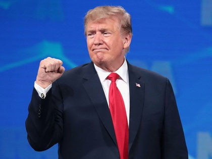 INDIANAPOLIS, INDIANA - APRIL 26: US President Donald Trump gestures to guests at the NRA-ILA Leadership Forum at the 148th NRA Annual Meetings & Exhibits on April 26, 2019 in Indianapolis, Indiana. The convention, which runs through Sunday, features more than 800 exhibitors and is expected to draw 80,000 guests. …