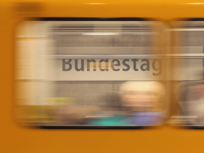 BERLIN, GERMANY - OCTOBER 12: A U55 U-Bahn commuter train arrives at the Bundestag station in Mitte district on October 12, 2011 in Berlin, Germany. Mitte district is home not only to the Bundestag and the offices of Germany's lawmakers, but also to many of the corporate representations, public relations …