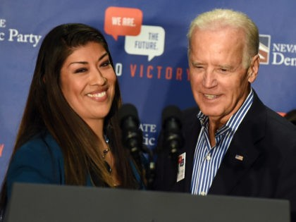 LAS VEGAS, NV - NOVEMBER 01: Democratic candidate for lieutenant governor and current Nevada Assemblywoman Lucy Flores (D-Las Vegas) (L) introduces U.S. Vice President Joe Biden at a get-out-the-vote rally at a union hall on November 1, 2014 in Las Vegas, Nevada. Biden is stumping for Nevada Democrats ahead of …