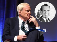 (INSET: Richard Nixon) NEW YORK, NY - DECEMBER 08: Chris Matthews speaks onstage as Robert F. Kennedy Human Rights hosts The 2015 Ripple Of Hope Awards honoring Congressman John Lewis, Apple CEO Tim Cook, Evercore Co-founder Roger Altman, and UNESCO Ambassador Marianna Vardinoyannis at New York Hilton on December 8, …