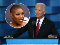 (INSET: Symone Sanders) PHILADELPHIA, PA - JULY 27: US Vice President Joe Biden delivers remarks on the third day of the Democratic National Convention at the Wells Fargo Center, July 27, 2016 in Philadelphia, Pennsylvania. Democratic presidential candidate Hillary Clinton received the number of votes needed to secure the party's …