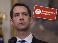 (INSET: Logo of the Southern Poverty Law Center [SPLC]) WASHINGTON, DC - AUGUST 2: (AFP OUT) Sen. Tom Cotton (R-AR) makes an announcement on the introduction of the Reforming American Immigration for a Strong Economy (RAISE) Act in the Roosevelt Room at the White House on August 2, 2017 in …