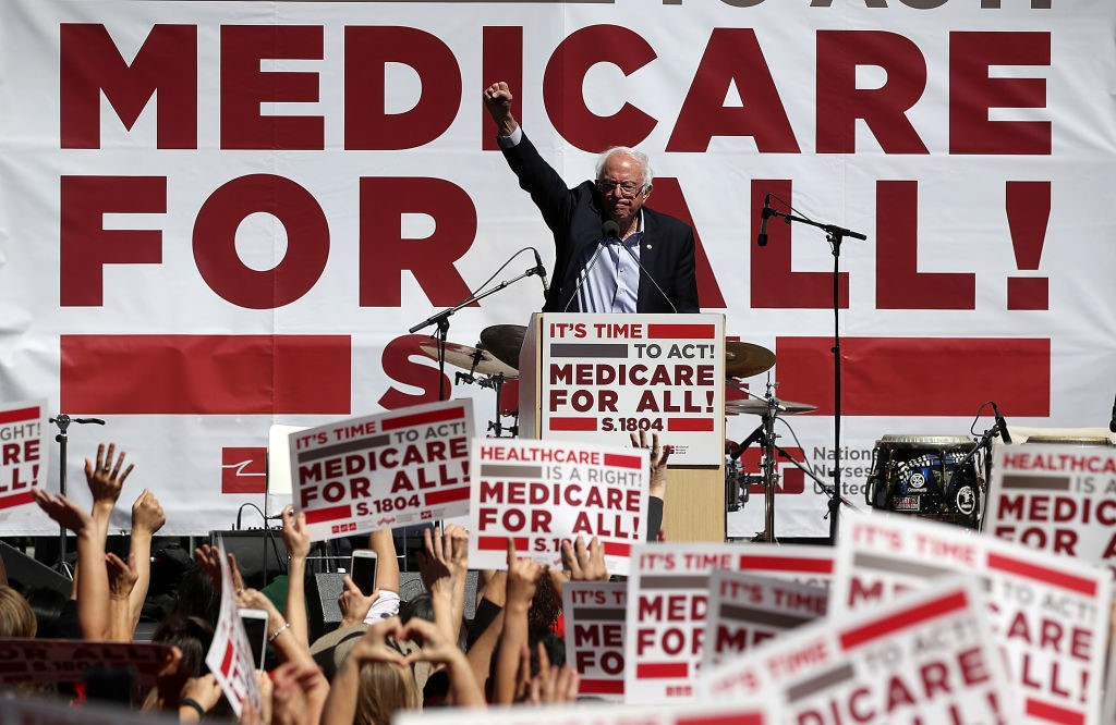SAN FRANCISCO, CA - SEPTEMBER 22: U.S. Sen. Bernie Sanders (I-VT) speaks during a health care rally at the 2017 Convention of the California Nurses Association/National Nurses Organizing Committee on September 22, 2017 in San Francisco, California. Sen. Bernie Sanders addressed the California Nurses Association about his Medicare for All Act of 2017 bill. (Photo by Justin Sullivan/Getty Images)