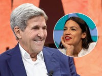 (INSET: Alexandria Ocasio-Cortez) BEVERLY HILLS, CA - OCTOBER 03: Former Secretary of State John Kerry speaks onstage during Vanity Fair New Establishment Summit at Wallis Annenberg Center for the Performing Arts on October 3, 2017 in Beverly Hills, California. (Photo by Matt Winkelmeyer/Getty Images)