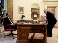 In this handout image provided by The White House, President Barack Obama (L) speaks with White House Counsel Gregory Craig in the Oval Office June 11, 2009 in Washington, DC. (Photo by Pete Souza/The White House via Getty Images)