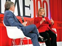 Hillary Clinton speaks with Editor-in-Chief and CEO of TIME Edward Felsenthal during the TIME 100 Summit, in New York, Tuesday, April 23, 2019. (AP Photo/Richard Drew)