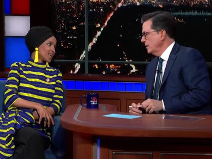 Ilhan Omar and Stephen Colbert