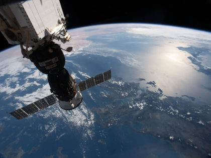 (March 31, 2019) --- The Soyuz MS-12 spacecraft is pictured docked to the International Space Station's Rassvet module as the orbital complex flew 256 miles above the Aegean Sea. This view looks from northeast to southwest, from Greece, Italy and across the Mediterranean Sea to Libya.