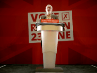 MANCHESTER, UNITED KINGDOM - JUNE 21: Labour Leader Jeremy Corbyn addresses an audience at the People's History Museum and sets out the reasons why Labour is voting remain, in the referendum on June 21, 2016 in Manchester, England. In the final few days of the EU referendum Jeremy Corbyn, Kate …