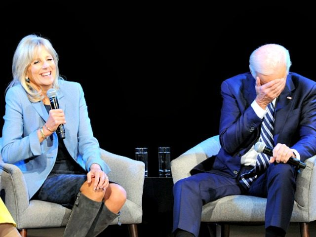 NEW YORK, NY - NOVEMBER 13: Former Second Lady of the United States Dr. Jill Biden (L) and Former Vice President of the United States Joe Biden speak onstage during Glamour Celebrates 2017 Women Of The Year Live Summit at Brooklyn Museum on November 13, 2017 in New York City. …