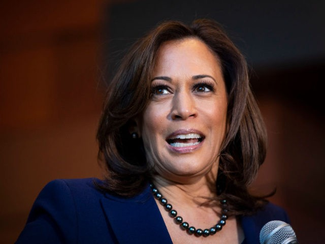 WASHINGTON, DC - JANUARY 21: U.S. Sen. Kamala Harris (D-CA) speaks to reporters after announcing her candidacy for President of the United States, at Howard University, her alma mater, on January 21, 2019 in Washington, DC. Harris is the first African-American woman to announce a run for the White House …