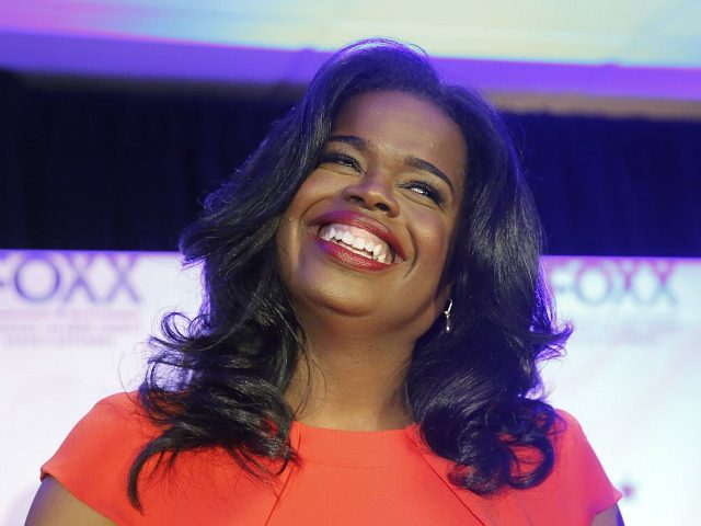 FILE--In this March 15, 2016, file photo, Kim Foxx smiles at the crowd as she celebrates her primary win over incumbent Democratic Cook County State's Attorney Anita Alvarez in Chicago. Foxx, now the Cook County State's Attorney, says she hopes to begin expunging minor cannabis convictions in the coming months …