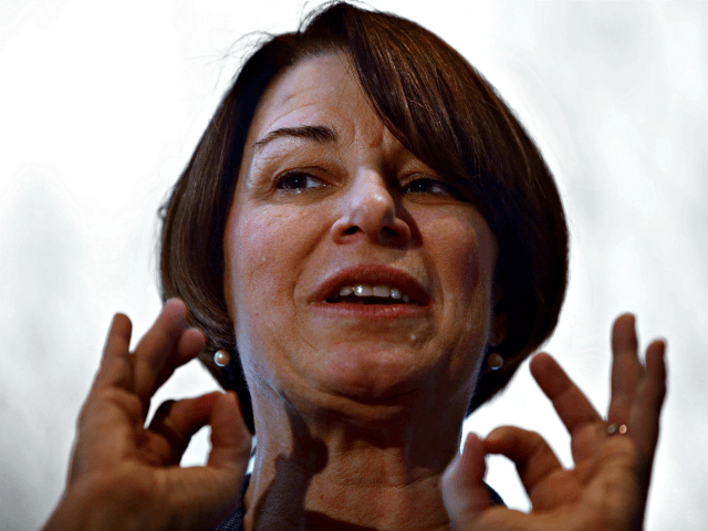 U.S. Sen. Amy Klobuchar, D-Minn., speaks to voters, Sunday, Feb. 24, 2019, during a campaign stop at a home, in Nashua, N.H. (AP Photo/Steven Senne)