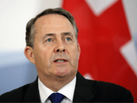 Britain's International Trade Secretary Liam Fox gives a press conference in Bern on February 11, 2019, after signing an agreement with Switzerland to preserve trade relations between the two countries even if London opts to leave the European Union without a deal with Brussels. (Photo by Stefan WERMUTH / AFP) …