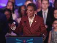 CHICAGO, ILLINOIS - APRIL 02: Lori Lightfoot delivers a victory speech after defeating Cook County Board President Toni Preckwinkle to become the next mayor of Chicago on April 02, 2019 in Chicago, Illinois. Lightfoot will become the first black female mayor of the city and its first openly gay mayor. …