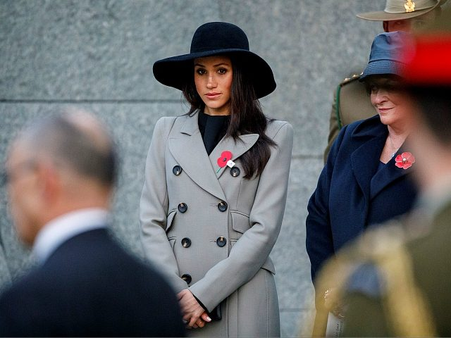 LONDON, ENGLAND - APRIL 25: Meghan Markle, the US fiancee of Britain's Prince Harry, attends an Anzac Day dawn service at Hyde Park Corner on April 25, 2018 in London, England. Anzac Day commemorates Australian and New Zealand casualties and veterans of conflicts and marks the anniversary of the landings …