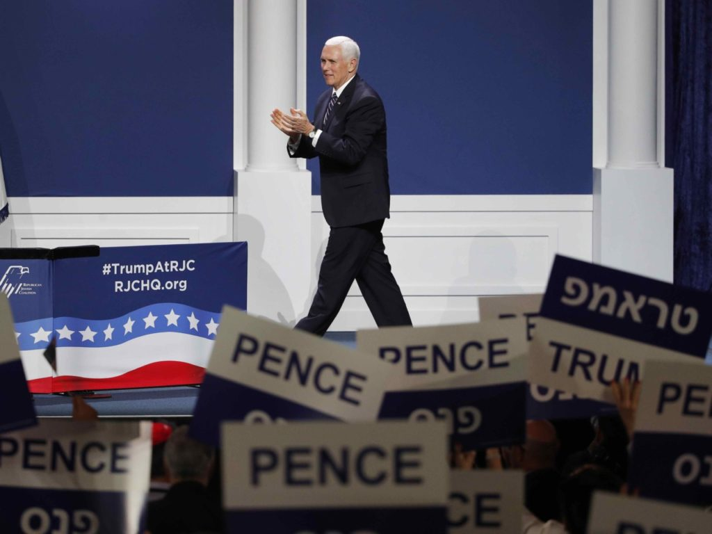 Mike Pence at RJC (John Locher / Associated Press)