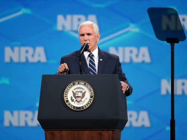 U.S. Vice President Mike Pence delivers remarks during the NRA-ILA Leadership Forum at the 148th NRA Annual Meetings & Exhibits on April 26, 2019 in Indianapolis, Indiana. The convention, which runs through Sunday, features more than 800 exhibitors and is expected to draw 80,000 guests. (Photo by Scott Olson/Getty Images)