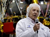 Israeli billionaire investor Morris Kahn (L) and Space IL CEO Ido Anteby present an Israeli Aerospace Industries spacecraft during a press conference to announce its launch to the moon, in Yehud, Eastern Tel Aviv, on July 10, 2018. - An Israeli organisation announced plans Tuesday to launch the country's first …