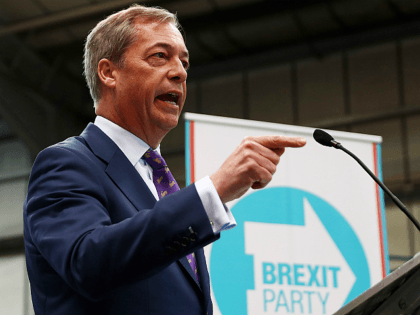 COVENTRY, ENGLAND - APRIL 12: Nigel Farage speaks at the launch of the Brexit Party at BG Penny & Co on April 12, 2019 in Coventry, England. Former UKIP leader Nigel Farage has launched the Brexit Party ahead of the European Parliamentary elections, which will take place in May. The …