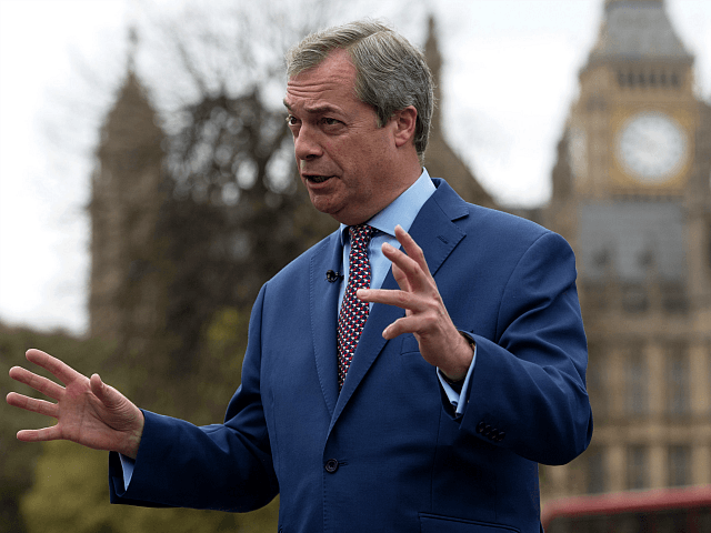 LONDON, ENGLAND - MARCH 29: Nigel Farage speaks to the media outside the Houses of Parliament on March 29, 2017 in London, England. Today British Prime Minister Theresa May addresses the Houses of Parliament as Article 50 is triggered and the process that takes Britain out of the European Union …