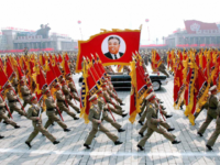Pyongyang, DEMOCRATIC PEOPLE'S REPUBLIC OF: This 25 April 2007 picture, released from Korean Central News Agency 26 April, shows North Korean soldiers, carrying a large portrait of late North Korean leader Kim Il Sung, marching during a grand military parade to celebrate the 75th founding anniversary of the KPA at …