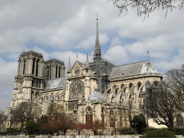 A picture taken on March 27, 2019 shows a scaffold during the restauration of Notre-Dame de Paris cathedral, in Paris. (Photo by Ludovic MARIN / AFP) (Photo credit should read LUDOVIC MARIN/AFP/Getty Images)