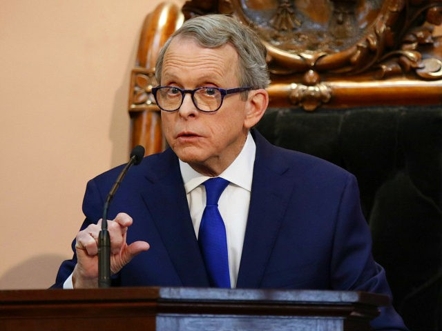 FILE - In this March 5, 2019 file photo, Ohio Governor Mike DeWine speaks during the Ohio State of the State address at the Ohio Statehouse in Columbus. DeWine says he will sign a bill imposing one of the nation's toughest abortion restrictions, following through on his pledge to sign …