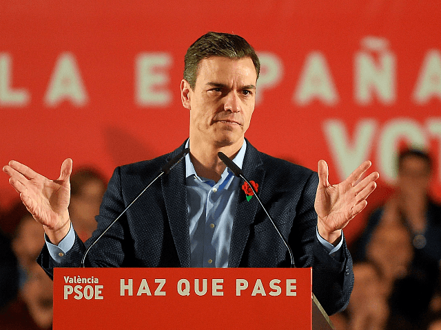 Spanish Prime Minister and Spanish Socialist Party (PSOE) candidate for prime minister Pedro Sanchez addresses supporters during the last campaign rally in Valencia on April 26, 2019 ahead of the April 28 general election. - Spain closes today a tense legislative elections campaign with repeated calls by Sanchez to avoid …