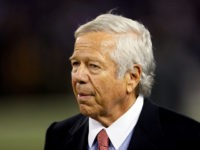SEPTEMBER 23: New England Patriots owner Robert Kraft watches his team during warm ups prior to the start of their game against the Baltimore Ravens at M&T Bank Stadium on September 23, 2012 in Baltimore, Maryland. (Photo by Rob Carr/Getty Images)