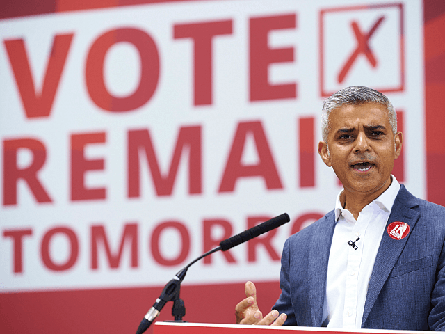 London Mayor Sadiq Khan speaks at a rally in favour of remaining in the EU in central london on June 22, 2016. European leaders warned Britain that a decision to leave the EU was irreversible, as the rival camps made a last-ditch push for votes on the eve of a …