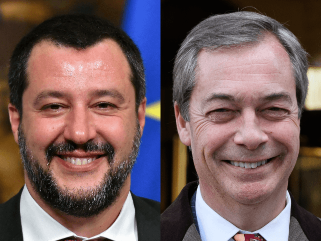 (L)Italy's Interior Minister and deputy PM Matteo Salvini smiles during a press conference to present the new economic law at the end of the Minister Council at Palazzo Chigi, in Rome, on January 17, 2019. (Photo by Alberto PIZZOLI / AFP) (Photo credit should read ALBERTO PIZZOLI/AFP/Getty Images) (R) LONDON, …