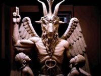 The Satanic Temple's bronze Baphomet. Photograph: The Satanic Temple/AP
