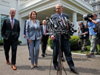 Speaker of the House Nancy Pelosi of Calif., and Senate Minority Leader Sen. Chuck Schumer of N.Y., walk over to speak with reporters after meeting with President Donald Trump about infrastructure, at the White House, Tuesday, April 30, 2019, in Washington. From left, House Ways and Mean Committee Chairman Rep. …