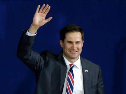 In this Oct. 29, 2014 file photo, then-Massachusetts Democratic Congressional candidate, now Rep.-elect Seth Moulton, waves as he arrives at a campaign event in Lynn, Mass. (AP Photo/Steven Senne, File)
