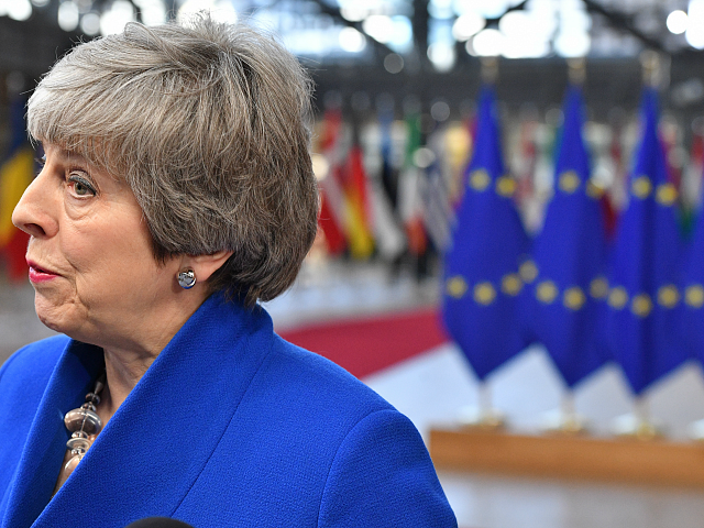 BRUSSELS, BELGIUM - APRIL 10: Britain's Prime minister Theresa May arrives ahead of a European Council meeting on Brexit at The Europa Building at The European Parliament on April 10, 2019 in Brussels, Belgium. Theresa May formally presents her case to the European Union for a short delay to Brexit …