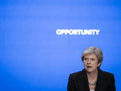 BIRMINGHAM, ENGLAND - OCTOBER 03: British Prime Minister Theresa May delivers her leader's speech during the final day of the Conservative Party Conference at The International Convention Centre on October 3, 2018 in Birmingham, England. Theresa May delivered her leader's speech to the 2018 Conservative Party Conference today. Appealing to …