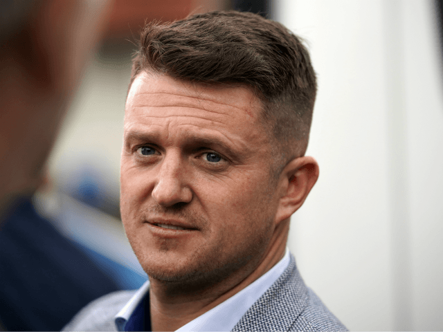WYTHENSHAWE, ENGLAND - APRIL 25: British far-right activist and pundit, Tommy Robinson (real name Stephen Yaxley-Lennon) speaks to supporters as he launches his election campaign for the forthcoming European Elections, where he will standing for the North West seat as an independent, on April 25, 2019 in Wythenshawe, England. (Photo …