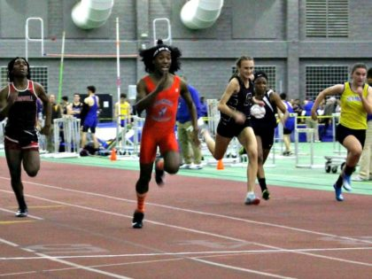 In this Feb. 7 Bloomfield High School transgender athlete Terry Miller, second from left, wins the final of the 55-meter dash over transgender athlete Andraya Yearwood, left, and other runners in the Connecticut girls Class S indoor track meet. PAT EATON-ROBB AP