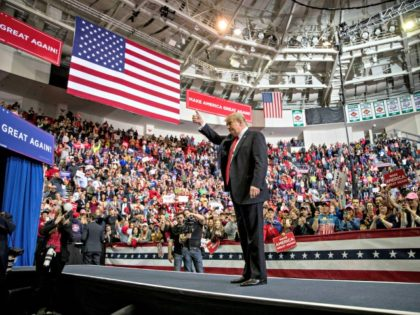 President Donald Trump waves after speaking at a rally at Resch Center Complex in Green Bay, Wis., Saturday, April 27, 2019. (AP Photo/Andrew Harnik)